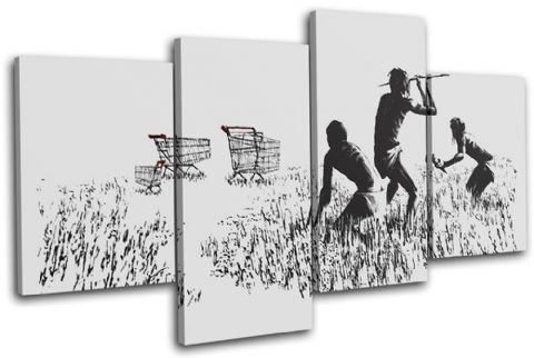 Trolley Hunters Banksy Painting - 13-0946(00B)-MP04-LO